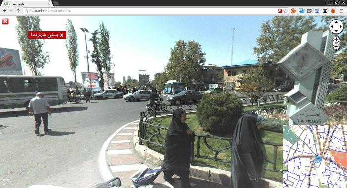 نقشه تهران نمای خیابان