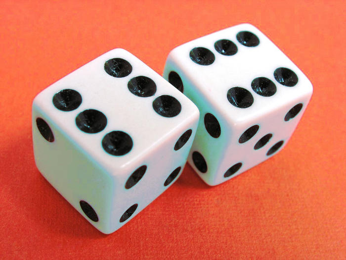 Lucky Dice showing a pair of sixes.