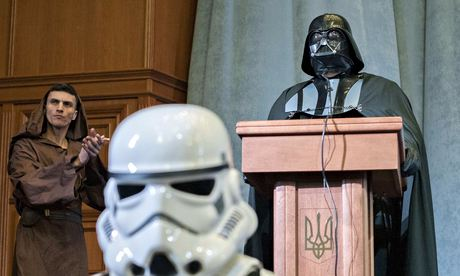 The Ukrainian Internet party's Darth Vader addresses a party congress in Kiev