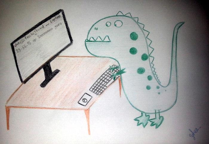 دایناسور سیتو در حال کار با کامپیوتر
