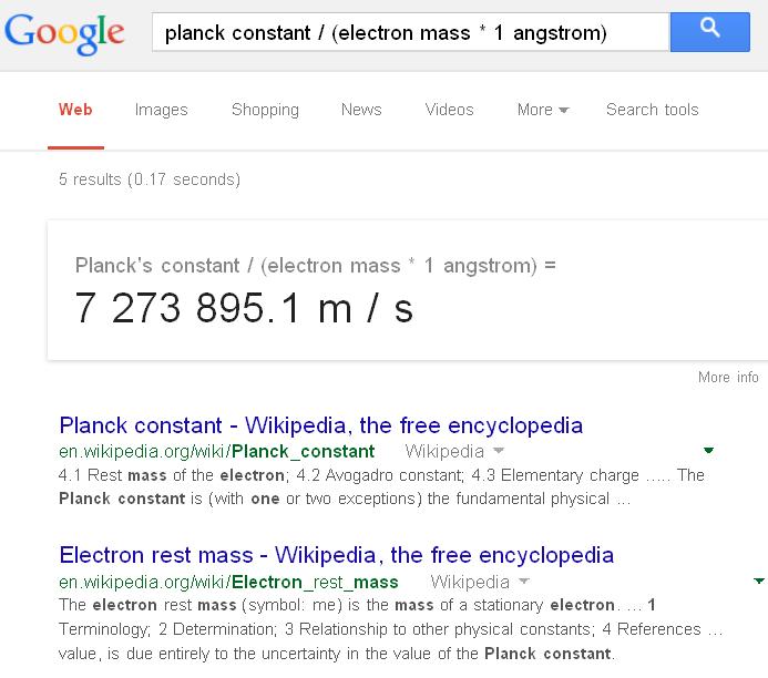ثابت های جهانی در ماشین حساب گوگل