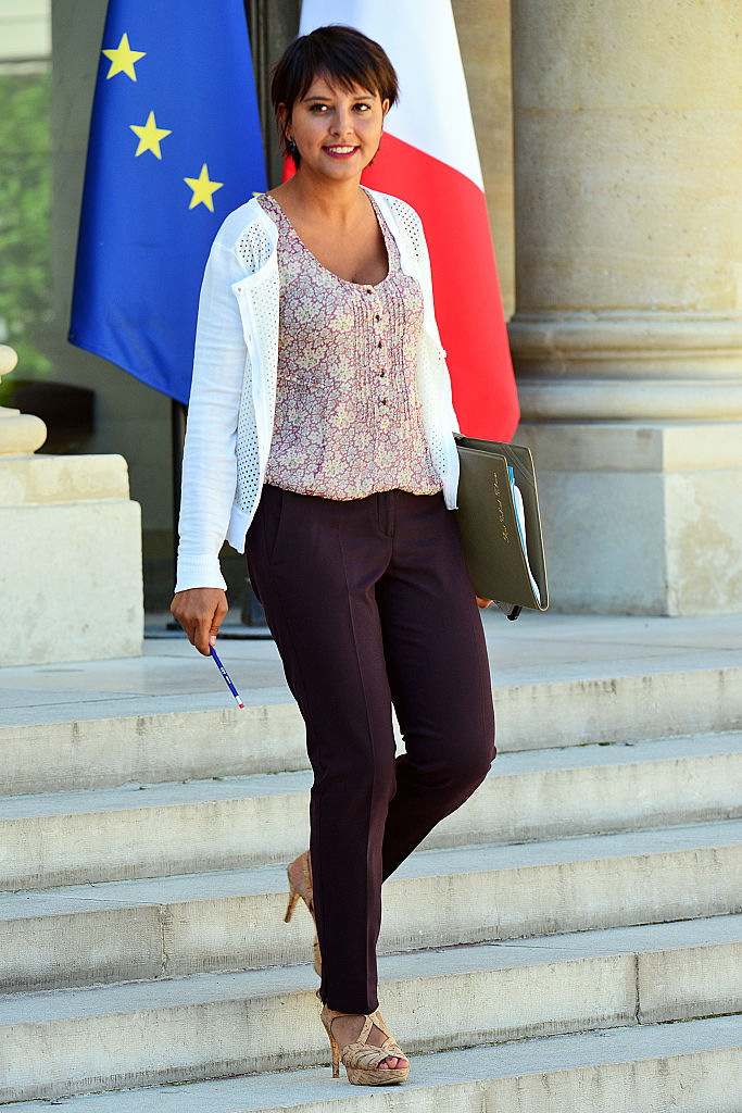 PARIS, FRANCE - AUGUST 22:  French Education minister Najat Vallaud-Belkacem, leaves the Elysee Presidential Palace on August 22, 2016 in Paris, France. This is the first weekly cabinet meeting following the summer holidays.  (Photo by Frederic Stevens/Getty Images)